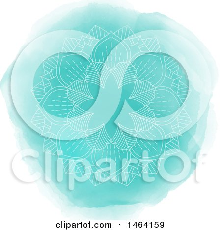 Clipart of a Mandala over Turquosise Watercolor - Royalty Free Vector Illustration by KJ Pargeter