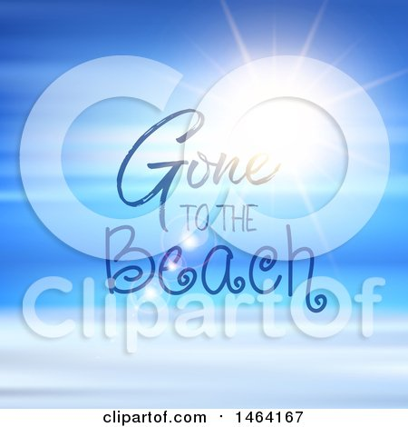 Clipart of a Blue Sunny Sky with Gone to the Beach Text - Royalty Free Vector Illustration by KJ Pargeter