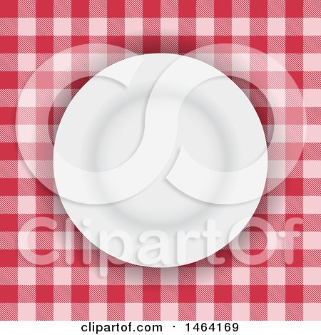 Clipart of a White Plate on Red Gingham Tablecloth - Royalty Free Vector Illustration by KJ Pargeter