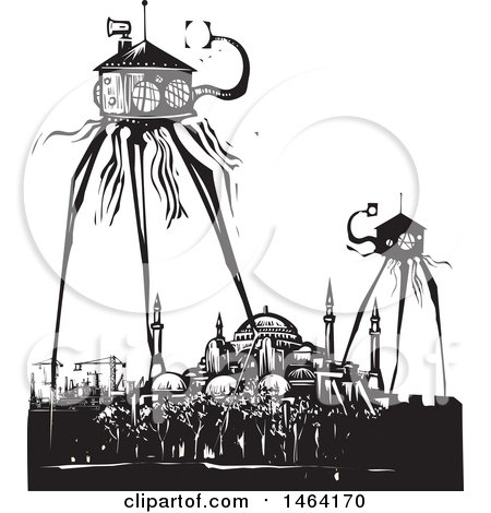 Clipart of Steampunk Martian Tripod Robots Invading Istanbul Turkey Black and White Woodcut - Royalty Free Vector Illustration by xunantunich
