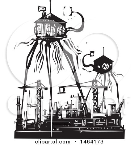 Clipart of Steampunk Martian Tripod Robots Invading a Factory Black and White Woodcut - Royalty Free Vector Illustration by xunantunich