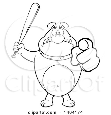 Clipart of a Black and White Bulldog Holding up a Bat and Pointing at the Viewer - Royalty Free Vector Illustration by Hit Toon