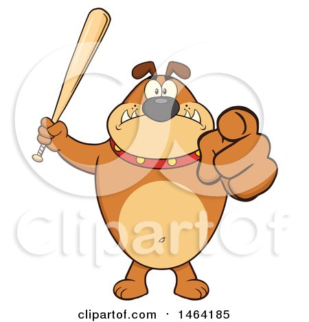 Clipart of a Brown Bulldog Holding up a Bat and Pointing at the Viewer - Royalty Free Vector Illustration by Hit Toon
