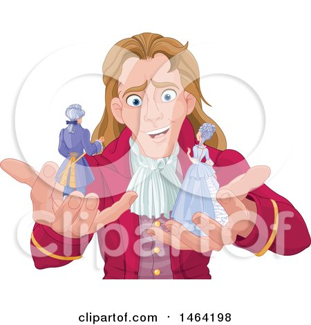 Clipart of a Male Giant, Gulliver, Holding a Man and Woman - Royalty Free Vector Illustration by Pushkin