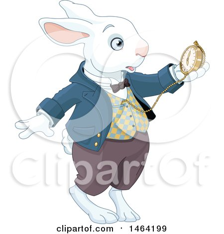 Clipart of a Late White Rabbit of Wonderland Looking at a Watch - Royalty Free Vector Illustration by Pushkin