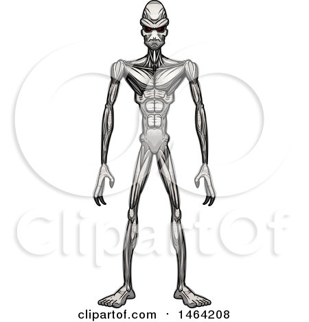 Clipart of a Standing Alien - Royalty Free Vector Illustration by Cory Thoman