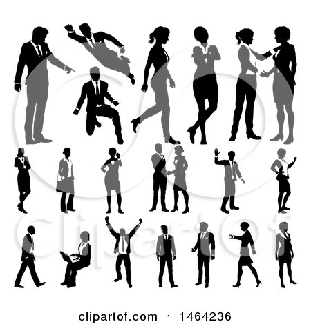 Black and White Silhouetted Business Men and Women Posters, Art Prints