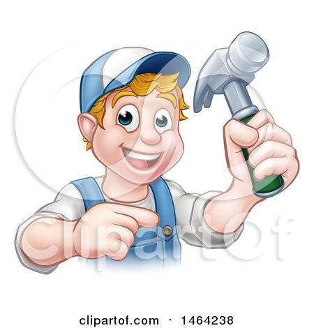 Cartoon Happy White Male Carpenter Holding a Hammer and Pointing Posters, Art Prints