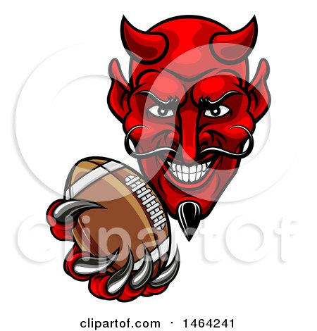 Clipart of a Grinning Evil Red Devil Holding out a Football in a Clawed Hand - Royalty Free Vector Illustration by AtStockIllustration