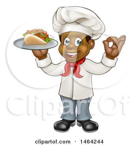 Clipart of a Full Length Cartoon Black Male Chef Holding a Souvlaki Kebab Sandwich on a Tray and Gesturing Perfect - Royalty Free Vector Illustration by AtStockIllustration
