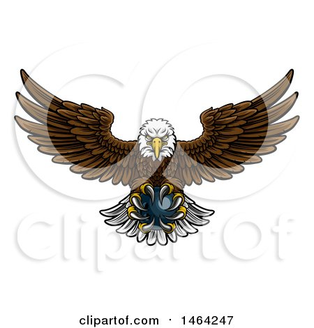 Clipart of a Cartoon Swooping American Bald Eagle with a Bowling Ball in His Talons - Royalty Free Vector Illustration by AtStockIllustration