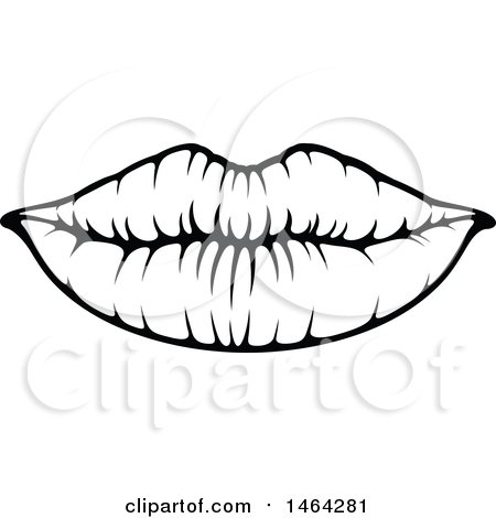 Clipart of Black and White Lips - Royalty Free Vector Illustration by Vector Tradition SM