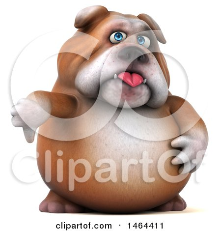 Clipart of a 3d Bill Bulldog Mascot Giving a Thumb Down, on a White Background - Royalty Free Illustration by Julos