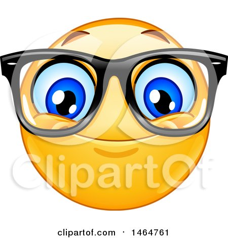 Clipart of a Happy Yellow Emoji Smiley Face Emoticon Wearing Glasses - Royalty Free Vector Illustration by yayayoyo