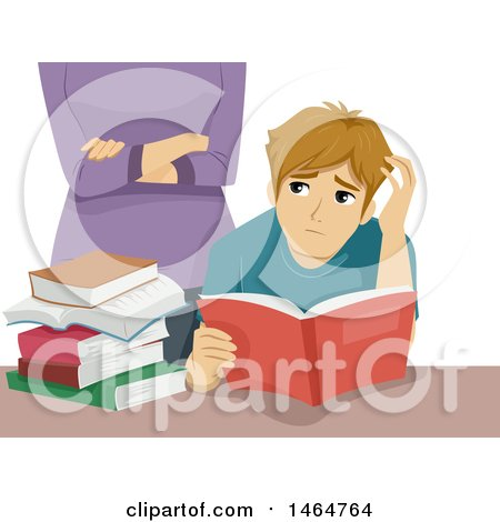 Clipart of a Teenage Guy Reading and Being Watched by an Overbearing Mother - Royalty Free Vector Illustration by BNP Design Studio
