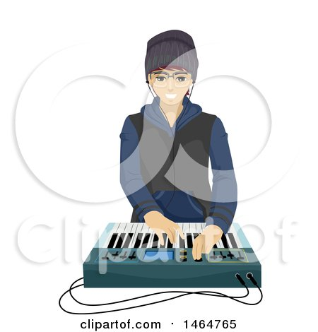 Clipart of a Teenage Guy Playing with a Music Synthesizer - Royalty Free Vector Illustration by BNP Design Studio