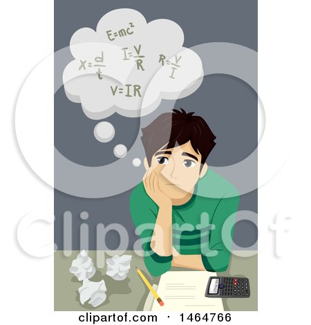 Clipart of a Teenage Guy Thinking of Math Formulas - Royalty Free Vector Illustration by BNP Design Studio