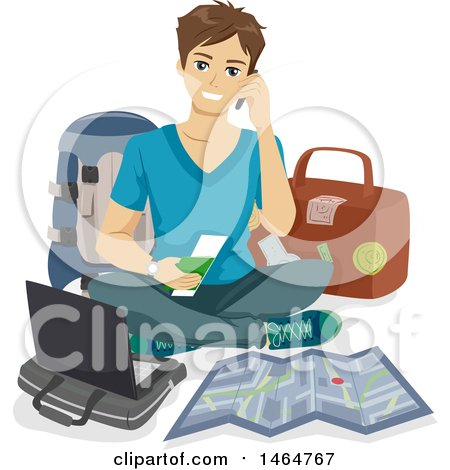 Clipart of a Teenage Guy Packing for Travel - Royalty Free Vector Illustration by BNP Design Studio