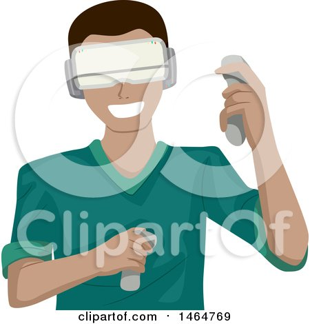 Clipart of a Teenage Guy Playing a Virtual Reality Game - Royalty Free Vector Illustration by BNP Design Studio