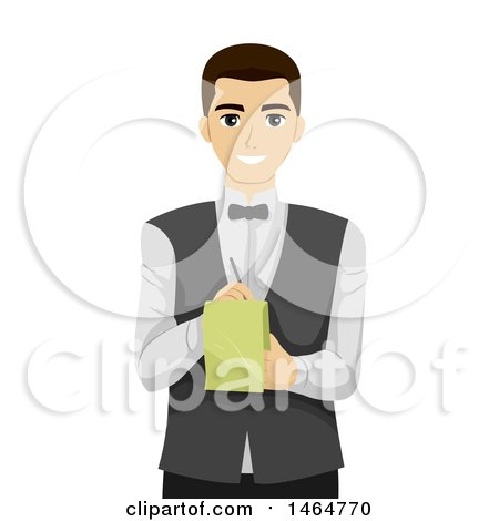 Clipart of a Teenage Guy Waiter Taking an Order - Royalty Free Vector Illustration by BNP Design Studio
