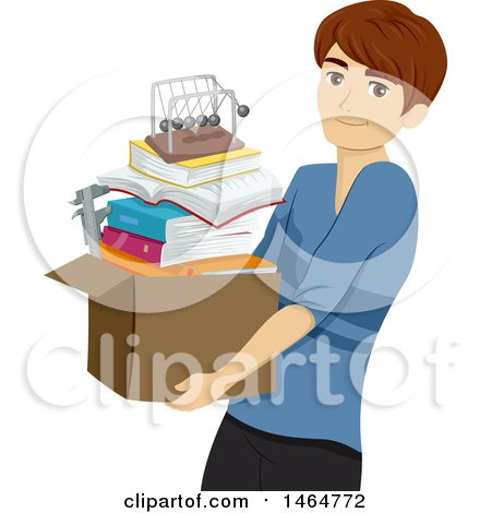 Clipart of a Teenage Guy Carrying a Box of Books and a Newtons Cradle - Royalty Free Vector Illustration by BNP Design Studio