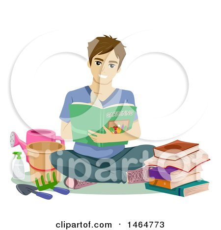 Clipart of a Happy Teenage Guy Sitting with Gardening Books and Tools - Royalty Free Vector Illustration by BNP Design Studio