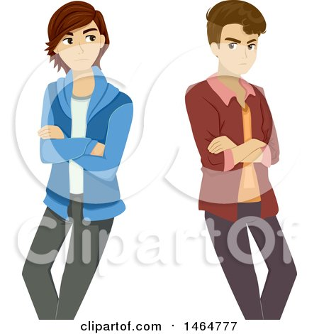 Clipart of a Gay Teenage Boy Couple Ignoring Each Other After a Break up - Royalty Free Vector Illustration by BNP Design Studio