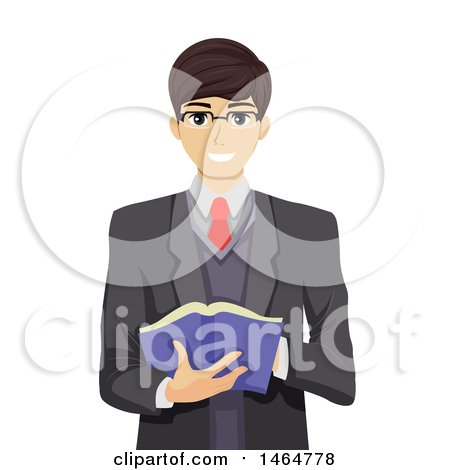 Clipart of a Nerdy Teenage Guy Holding a Book - Royalty Free Vector Illustration by BNP Design Studio
