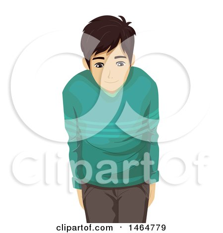 Clipart of an Asian Teenage Guy Bowing Respectfully - Royalty Free Vector Illustration by BNP Design Studio