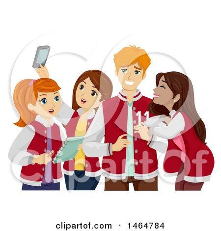 Clipart of a Group of High School Teenage Girls Hanging out with a Popular Guy - Royalty Free Vector Illustration by BNP Design Studio