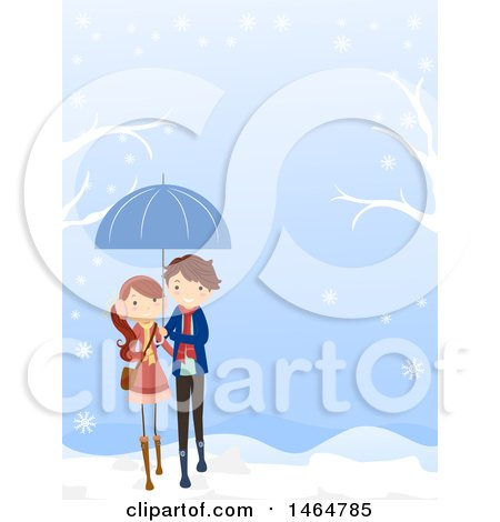 Clipart of a Teenage Couple Walking on a Winter Day - Royalty Free Vector Illustration by BNP Design Studio