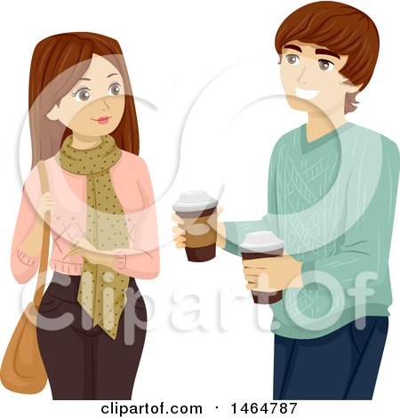 Clipart of a Teenage Couple with Takeout Coffee - Royalty Free Vector Illustration by BNP Design Studio