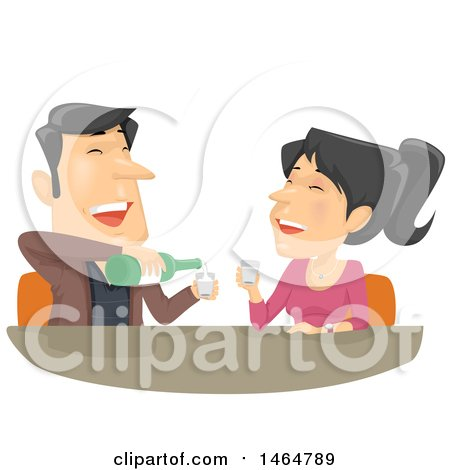 Clipart of a Laughing Couple Drinking Soju - Royalty Free Vector Illustration by BNP Design Studio
