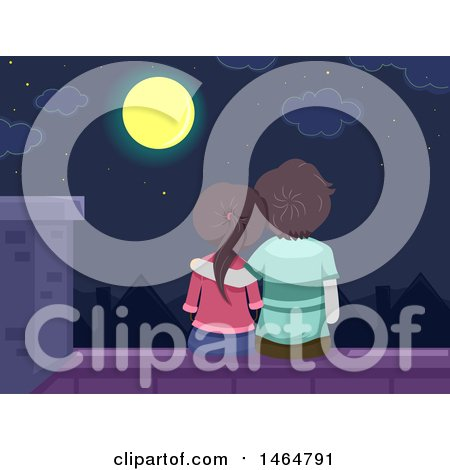 Clipart of a Rear View of a Teenage Couple Sitting on a Roof and Looking at a Full Moon - Royalty Free Vector Illustration by BNP Design Studio