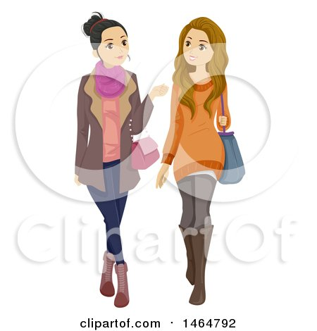 Clipart of Stylish Teenage Girls Walking - Royalty Free Vector Illustration by BNP Design Studio