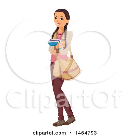 Clipart of a Native American Indian Teenage Girl Holding Books - Royalty Free Vector Illustration by BNP Design Studio