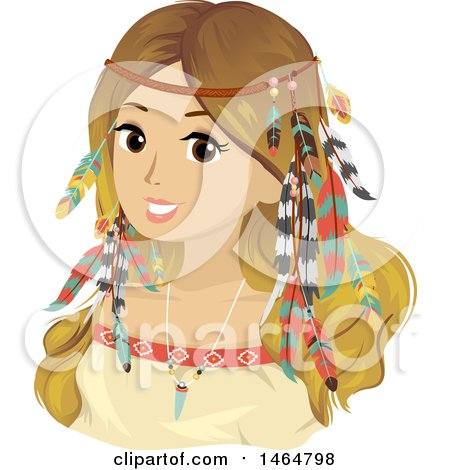 Clipart of a Teenage Girl in Bohemian Accessories and Clothes - Royalty Free Vector Illustration by BNP Design Studio