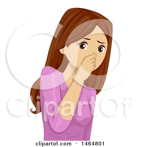 Clipart of a Teenage Girl Plugging Her Nose in a Stinky Situation - Royalty Free Vector Illustration by BNP Design Studio