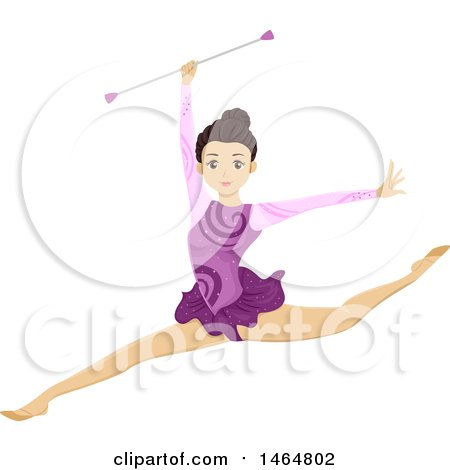 Clipart of a Teenage Girl Gymnast Leaping and Holding a Baton - Royalty Free Vector Illustration by BNP Design Studio
