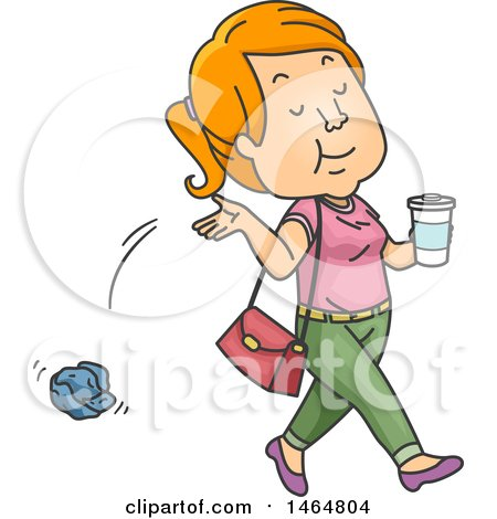 Clipart of a Teenage Girl Littering - Royalty Free Vector Illustration by BNP Design Studio