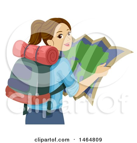 Clipart of a Teenage Girl Reading a Map and Wearing a Backpack - Royalty Free Vector Illustration by BNP Design Studio