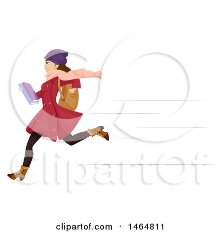 Clipart of a Teenage Girl in Winter Apparel, Running to School - Royalty Free Vector Illustration by BNP Design Studio