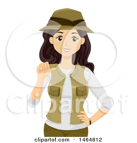 Clipart of a Teenage Girl Explorer Pointing at Herself - Royalty Free Vector Illustration by BNP Design Studio