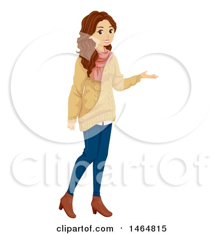 Clipart of a Presenting Teenage Girl in a Sweater - Royalty Free Vector Illustration by BNP Design Studio