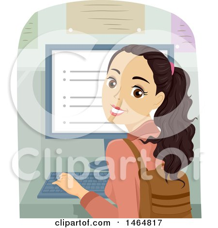 Clipart of a Teenage Girl Looking Back and Using a Desktop Computer - Royalty Free Vector Illustration by BNP Design Studio