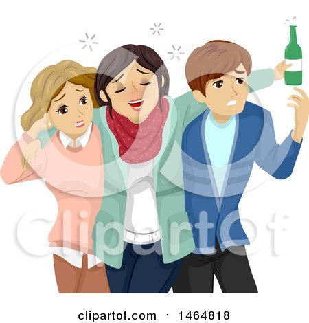 Clipart of a Teenage Couple Escorting Their Drunk Friend - Royalty Free Vector Illustration by BNP Design Studio