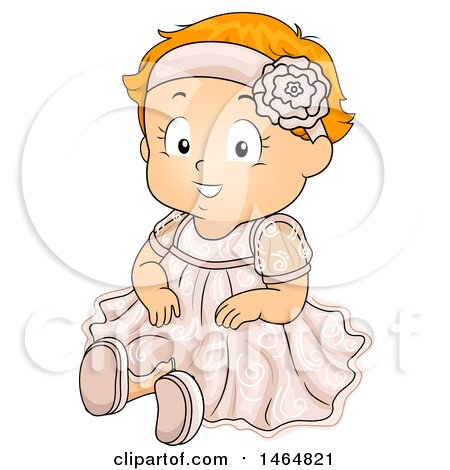 Clipart of a Happy Red Haired White Toddler Girl in a Baptismal Dress - Royalty Free Vector Illustration by BNP Design Studio