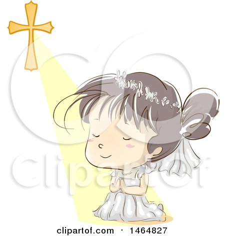 Clipart of a Sketched Girl Kneeling and Praying After Her First Communion - Royalty Free Vector Illustration by BNP Design Studio