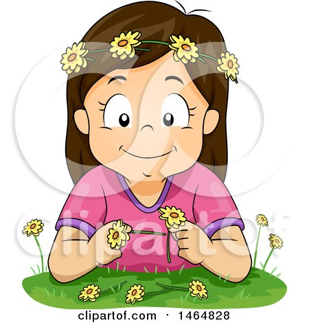 Clipart of a Happy Brunette White Girl Making a Flower Chain - Royalty Free Vector Illustration by BNP Design Studio