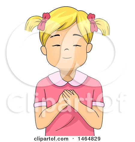 Clipart of a Blond White Girl Praying - Royalty Free Vector Illustration by BNP Design Studio